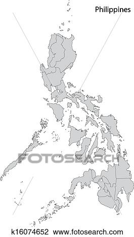 Philippines Map Black And White.Clipart Of Grey Philippines Map K16074652 Search Clip Art