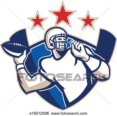 Clip Art Of Gridiron Football Quarterback Throw Ball K16012596