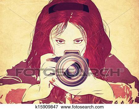 Grunge Camera Vector : Stock illustration of grunge female photographer k