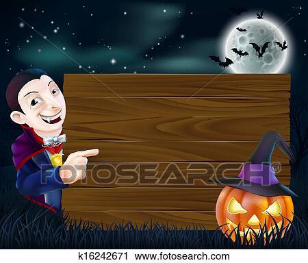 Halloween dracula legno segno clipart k fotosearch