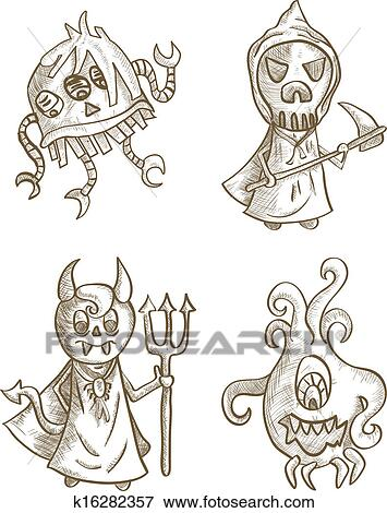 Halloween Monsters Isolated Spooky Cartoon Creatures Set Clip Art K16282357 Fotosearch