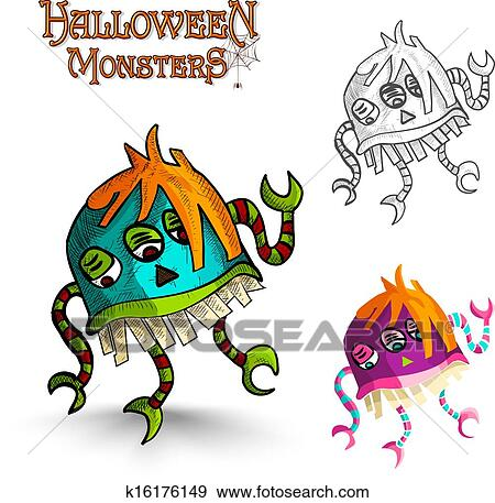 Halloween Monsters Scary Cartoon Freak Eps10 File Clip Art K16176149 Fotosearch