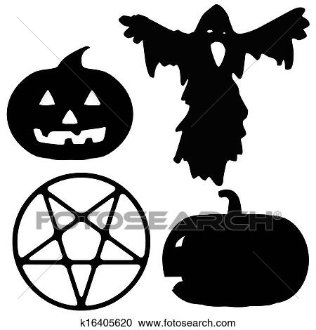 Halloween Silhouette Illustrations Clipart K16405620 Fotosearch
