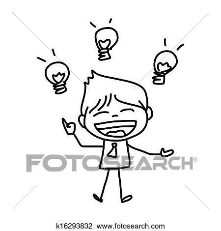 Clipart Of Hand Drawing Cartoon Character Business Person K16293832