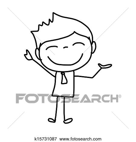 Clip Art Of Hand Drawing Cartoon Happy Kids K15731087 Search