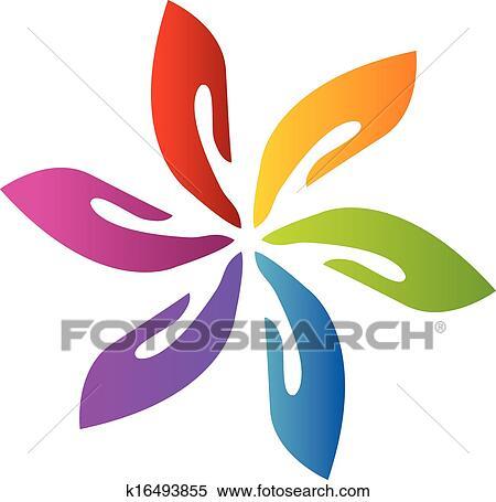 clipart of hands teamwork flower logo vector k16493855 search clip rh fotosearch com