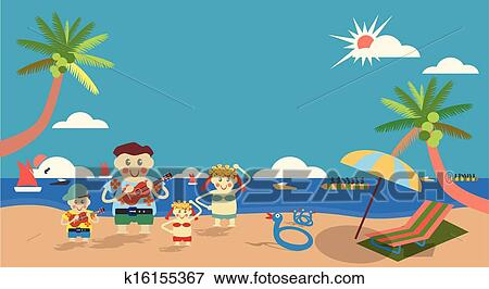 Business Parents At Summer Sea With Twin Boy And Girl In Hawaiian Activities Vector Family Concept Tenth Encapsulated Postscript Version