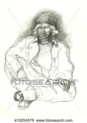 Art Stock Illustration Hip Hop Gangster Drawing Fotosearch Search Vector Clipart Drawings Drawing Pencil Sketches Hip Hop Gangster Drawing Stock Illustration K15254579