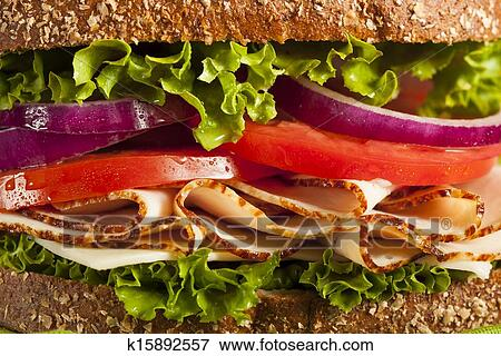 Picture Of Homemade Turkey Sandwich K15892557 Search Stock