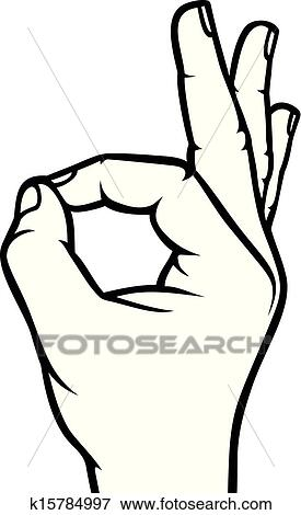 clip art of human okay hand sign k15784997 search clipart rh fotosearch com ok clipart transparent clipart ok nok
