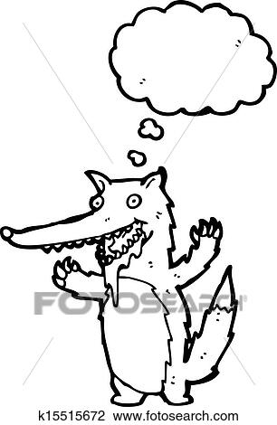 Clipart Of Hungry Wolf Cartoon K15515672