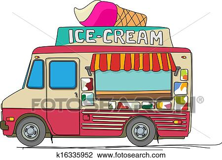 clipart of ice cream truck k16335952 search clip art illustration rh fotosearch com  free ice cream truck clipart