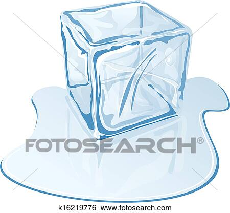 Clip Art Of Ice Cube K16219776 Search Clipart Illustration