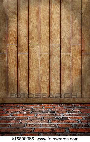 Indoor Background With Colored Wall And Stone Floor Wooden Plank