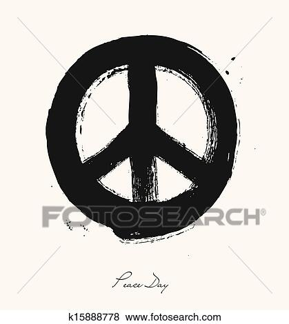Clip Art Of Isolated Hand Drawn Peace Symbol Brush Style Composition