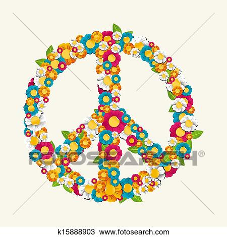 dce11830e Clipart - Isolated peace symbol made with flowers composition EPS10 file..  Fotosearch - Search