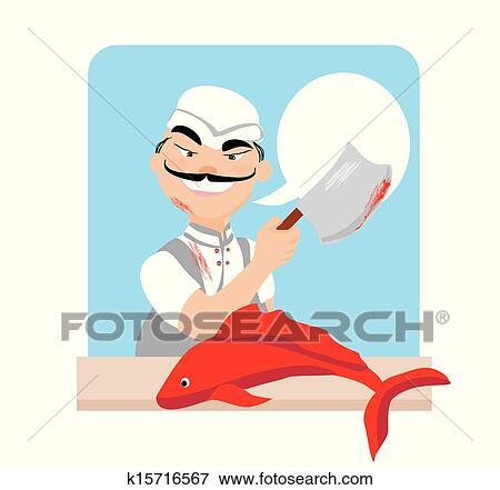 Clipart Japonaise Poissonnier Charcutier Chef Cuistot