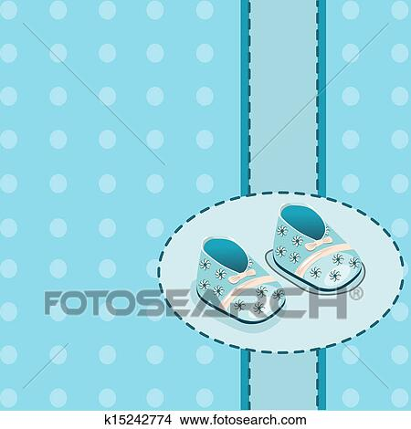 Clipart of card for baby boy shoes vector k15242774 - Search Clip ...