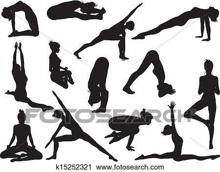 clipart of yoga pose women silhouettes k15252321  search