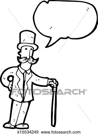 Clip Art of cartoon man in top hat with cane k15534249 - Search ...