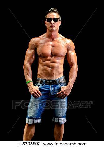 banque de photo beau jeune homme muscle d nud e porter seulement jean et lunettes. Black Bedroom Furniture Sets. Home Design Ideas