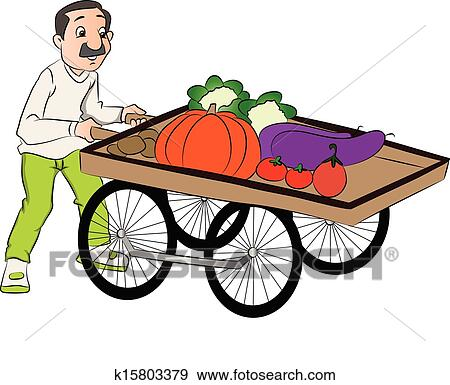 Clip Art of Vector of vendor pushing vegetable cart ...