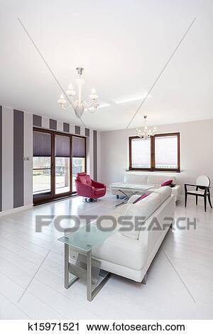 archivio fotografico - vibrante, cottage, -, bianco, e, rosa ... - Soggiorno Bianco E Rosa
