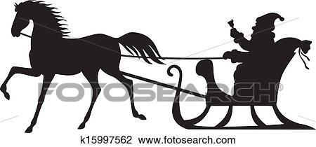 clipart p re no l quitation sur a cheval tra neau k15997562 recherchez des clip arts. Black Bedroom Furniture Sets. Home Design Ideas