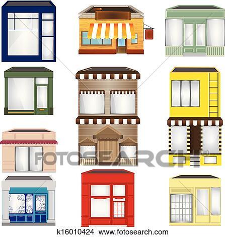 clipart ensemble de dessin anim magasins k16010424 recherchez des clip arts des. Black Bedroom Furniture Sets. Home Design Ideas