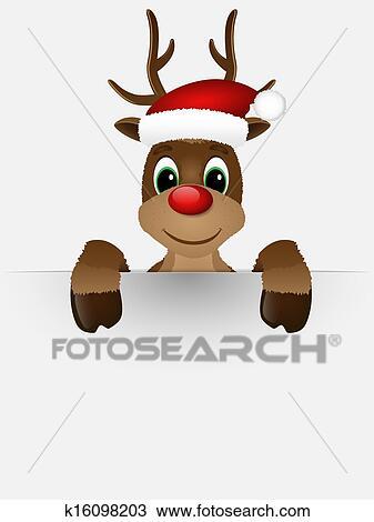 Clipart renne nez rouge et santa hat k16098203 - Dessin de renne au nez rouge ...