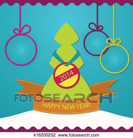 剪贴画 新年, 贺卡, 圣诞树
