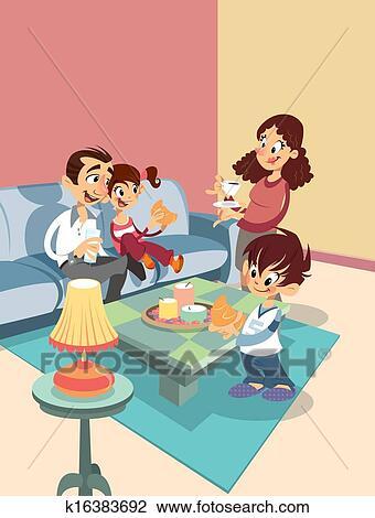 clip art caricatura familia en el sala de estar