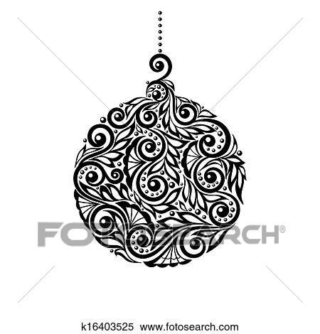clipart schwarz wei weihnachtskugel mit a blumen design k16403525 suche clip art. Black Bedroom Furniture Sets. Home Design Ideas
