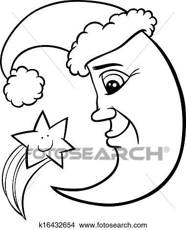 clipart lune et toile no l coloration page k16432654 recherchez des clip arts des. Black Bedroom Furniture Sets. Home Design Ideas