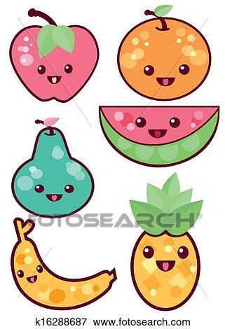 clip art of kawaii fruits k16288687 search clipart illustration rh fotosearch com kawaii clip art mom kawaii clipart fruit