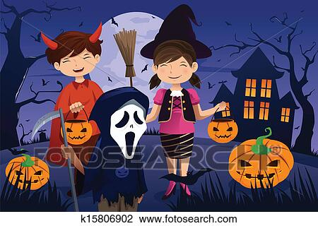 A vector silhouette illustration of children trick or treating...    Illustration