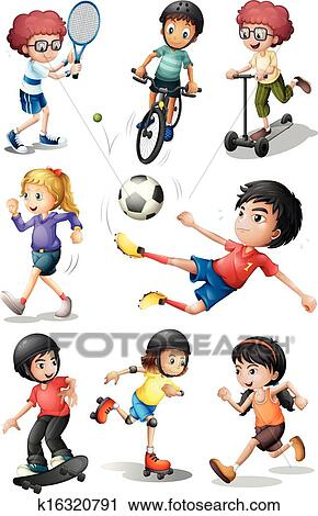 clipart of kids engaging in different sports activities k16320791 rh fotosearch com Present Clip Art Academic Clip Art