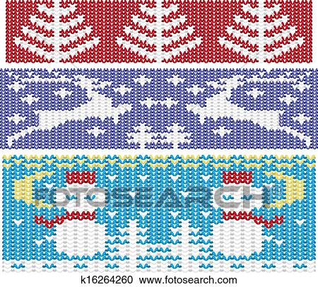 Knitted Christmas Ornaments Set Clipart