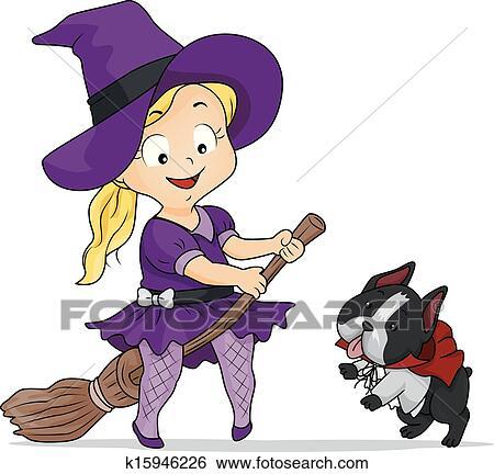 Kostüm Halloween Hexe Mädchen Clip Art