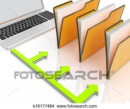 drawings of laptop and folders shows administration and organized