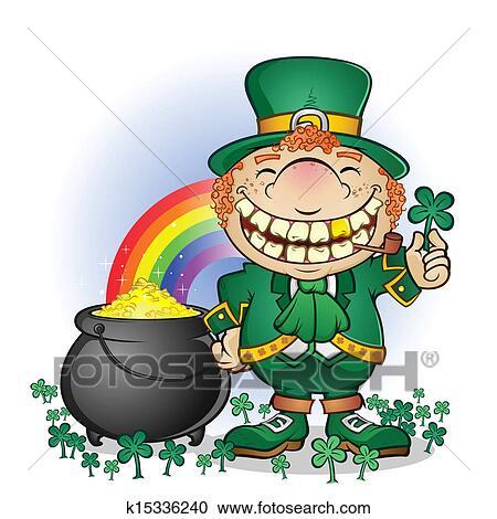 clipart of leprechaun pot of gold cartoon k15336240 search clip