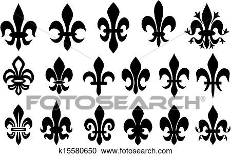Clipart Of Lily Flower Heraldic Symbol K15580650 Search Clip Art