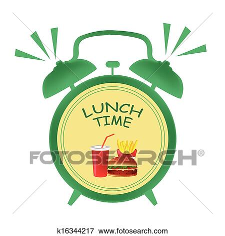 Clip Art Of Lunch Time Clock K16344217