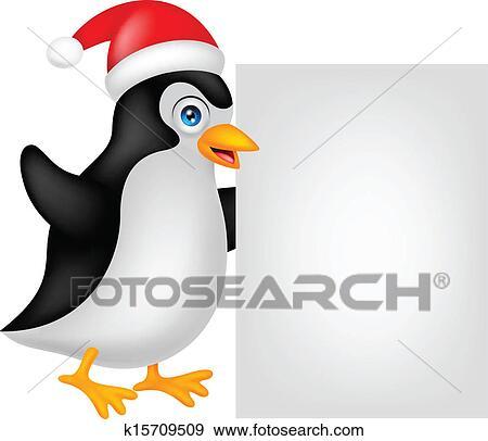 lustig pinguin karikatur weihnachten mit bla clip art. Black Bedroom Furniture Sets. Home Design Ideas