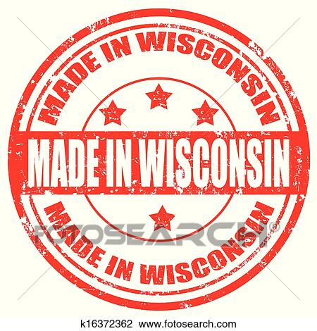 Clipart Of Made In Wisconsin Stamp K16372362