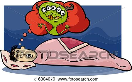 Cartoon Concept Illustration Of Funny Man Dreaming A Nightmare About Monster