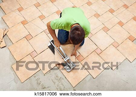Stock Images Of Man Laying Ceramic Floor Tiles K15817006 Search