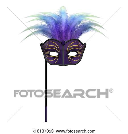 3D Digital Render Of A Masquerade Mask Isolated On White Background