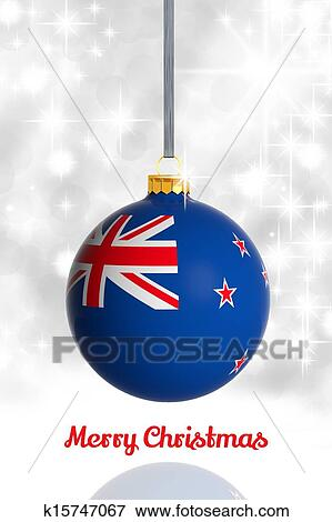 merry christmas from new zealand christmas ball with flag