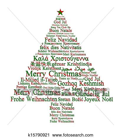 Clipart of Merry Christmas in different languages forming a ...